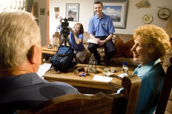 Family Legacy Video president Steve Pender conducts a video biography interview.