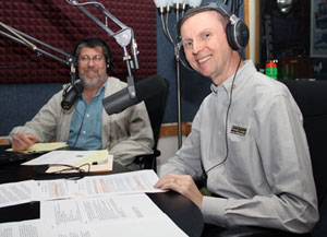 "Family Legacy Video president Steve Pender with ""Law Review Radio"" host Ron Zack."