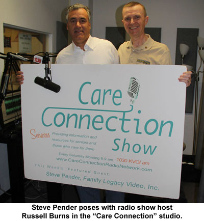 Family Legacy Video's Steve Pender poses with Care Connection radio show host Russell Burns.