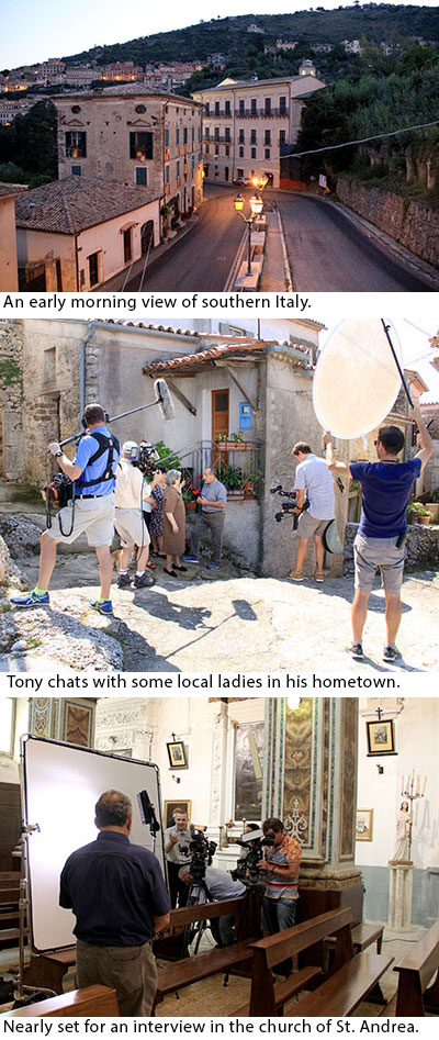 Scenes from Family Legacy Video's shoot in Italy.