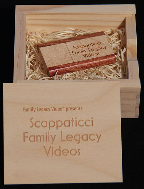 Family Legacy Video can deliver your personal legacy video biography in custom USB drives and storage boxes.